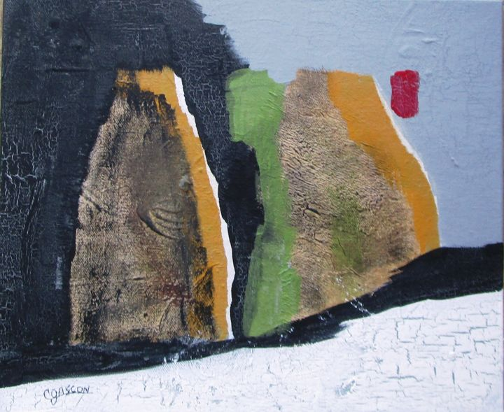 Sans titre 3b - Painting,  9.8x11.8 in, ©2019 by Claude Gascon -                                                                                                                                                                                                                                                                                                                                                                                                          Abstract, abstract-570, Landscape, paysage, abstrait, sana titre, montagne, lac