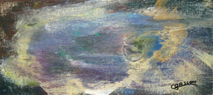 Galaxie - Painting,  3.9x8.5 in, ©2008 by Claude Gascon -                                                                                                                                                                                                                          Abstract, abstract-570, Outer Space, galaxie