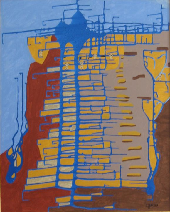 Les sculpteurs de temples - Painting,  29.9x24 in, ©2002 by Claude Gascon -                                                                                                                                                                                                                                                                                                                  Abstract, abstract-570, Architecture, sculpteur, pierre, temples