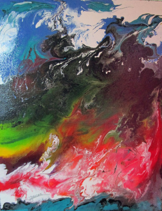 éruption no 4 - Painting,  9.8x7.9 in, ©2015 by Claude Gascon -                                                                                                                                                                                                                                                                                                                  Abstract, abstract-570, Nature, volcan, eruption, volcanique