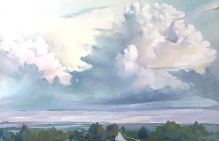 """Painting titled """"wisconsin-clouds.jpg"""" by Caitlin Olson, Original Art, Oil Mounted on Stretcher frame"""
