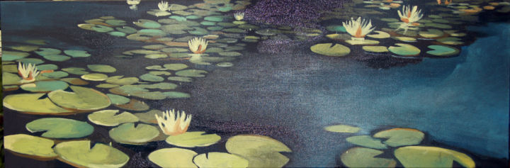 """Painting titled """"Lilypads"""" by Caitlin Olson, Original Art, Oil Mounted on Stretcher frame"""