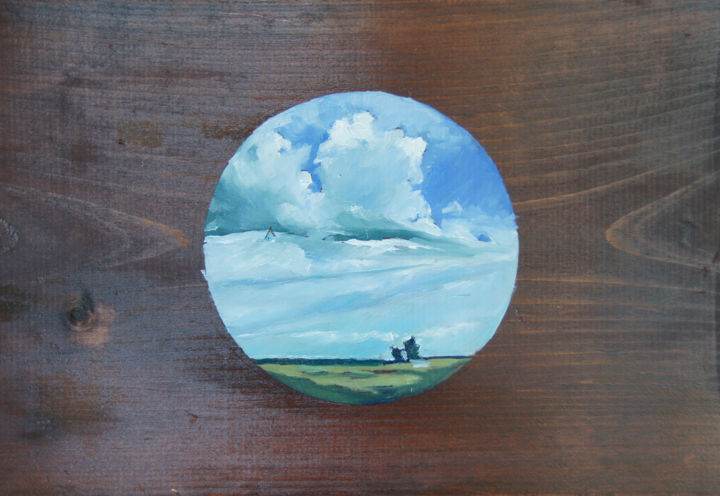 """Painting titled """"Circle Clouds 1"""" by Caitlin Olson, Original Art, Oil"""