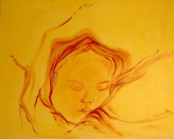BEBE - Painting,  31.5x39.4 in, ©2008 by Christine Goubon -