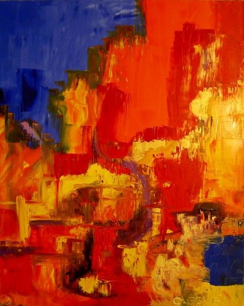 SOUFFRANCE - Painting,  31.5x25.6 in, ©2009 by Christine Goubon -                                                                                                                                                                                                                          Abstract, abstract-570, Abstract Art, ABSTRAIT HUILE