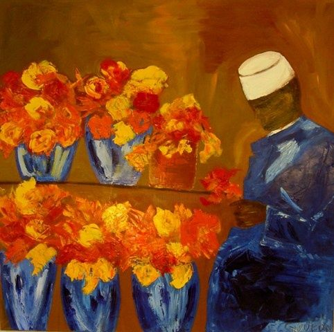 LE FLEURISTE - Painting,  39.4x39.4 in, ©2009 by Christine Goubon -