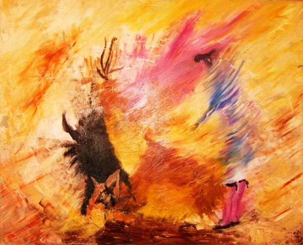 CORRIDA - Painting,  31.5x39.4 in, ©2009 by Christine Goubon -