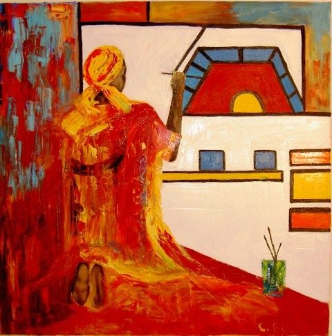 PEINTRE AFRICAIN - Painting,  39.4x39.4 in, ©2009 by Christine Goubon -