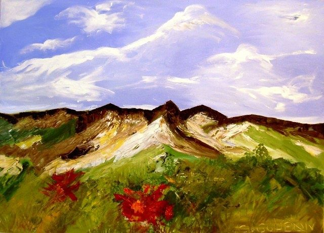 MONTS D'AUVERGNE - Painting,  28.7x39.4 in, ©2009 by Christine Goubon -