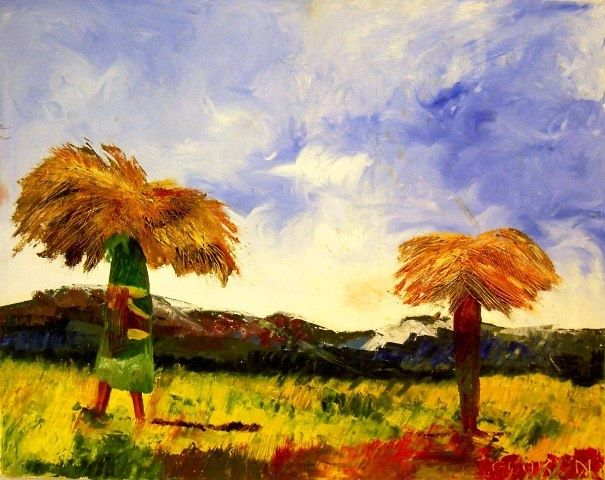 SCENE CHAMPETRE - Painting,  28.7x36.2 in, ©2009 by Christine Goubon -