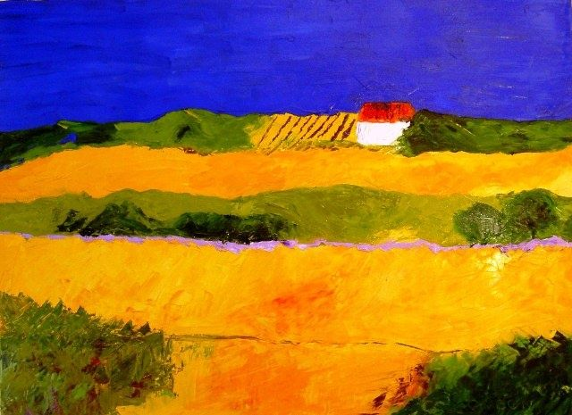 CAMPAGNE PROVENCALE - Painting,  29.5x39.4 in, ©2009 by Christine Goubon -
