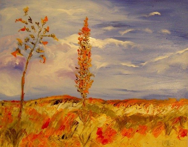 LANDE FLEURIE - Painting,  25.6x31.9 in, ©2009 by Christine Goubon -