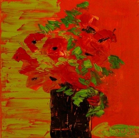 BOUQUET ROUGE ET VERT - Painting,  15.8x15.8 in, ©2009 by Christine Goubon -
