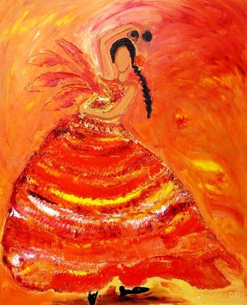 DANSEUSE ANDALOUSE - Painting,  39.4x31.9 in, ©2009 by Christine Goubon -