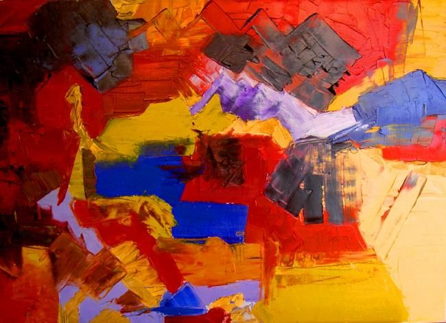ARLEQUIN - Painting,  19.7x27.6 in, ©2011 by Christine Goubon -