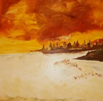 SOLEIL COUCHANT - Painting,  39.4x39.4 in, ©2011 by Christine Goubon -