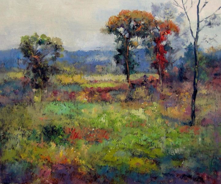 """Painting titled """"Country #602"""" by Lermay Chiang, Original Art, Oil Mounted on Stretcher frame"""