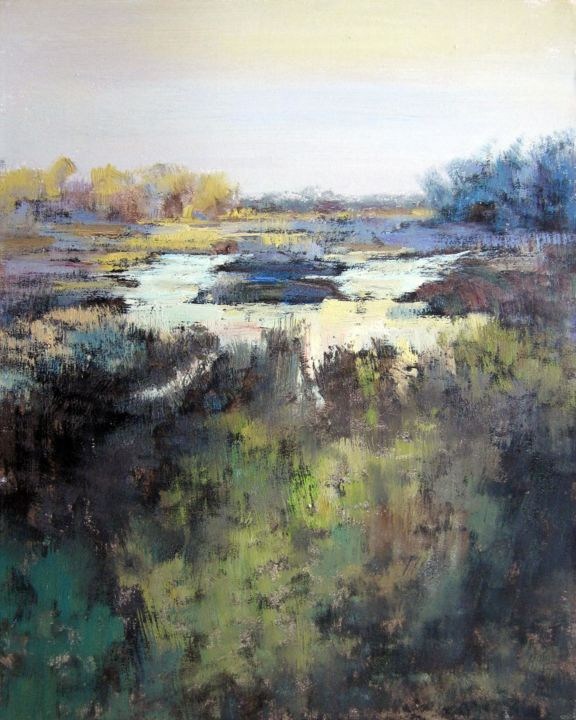 """Painting titled """"Country water #001"""" by Lermay Chiang, Original Art, Oil Mounted on Stretcher frame"""