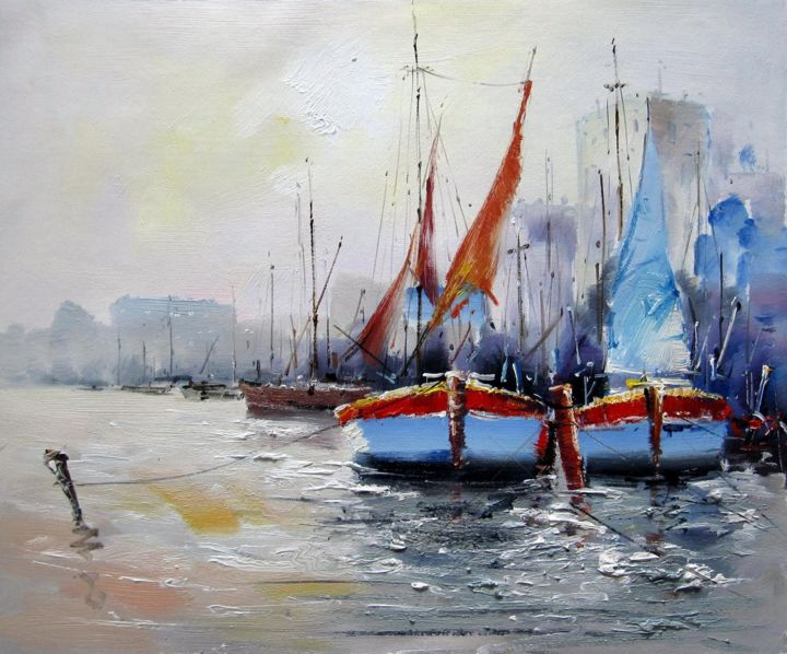 Boat #106 - Painting,  19.7x23.6x0.8 in, ©2019 by Lermay Chiang -