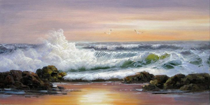 """Painting titled """"Seawave #223"""" by Lermay Chiang, Original Art, Oil Mounted on Stretcher frame"""