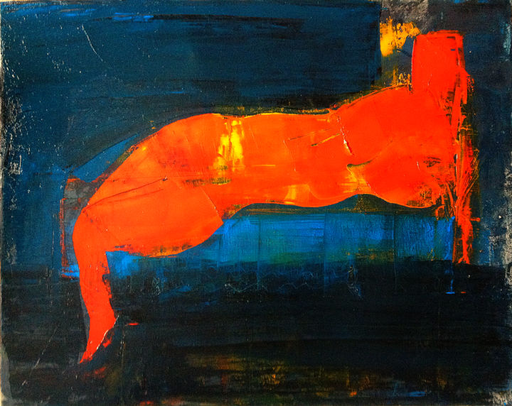 """Nude"" - Painting,  40x50x2 cm ©2019 by Levan Chabukiani -                                                                                                                    Abstract Art, Conceptual Art, Figurative Art, Abstract Art, Body, Love / Romance, Nude, Women, figurative art, body, women, nude, abstract art, orange, blue, black"
