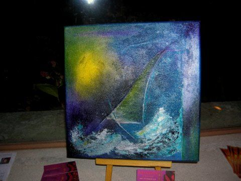 A contre -vent - Painting,  30x30 cm ©2009 by CHACHAPEALA -