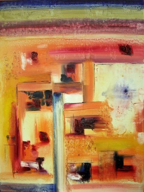 infiltrations - Painting,  80x60 cm ©2010 by CHACHAPEALA -            huile sur toile