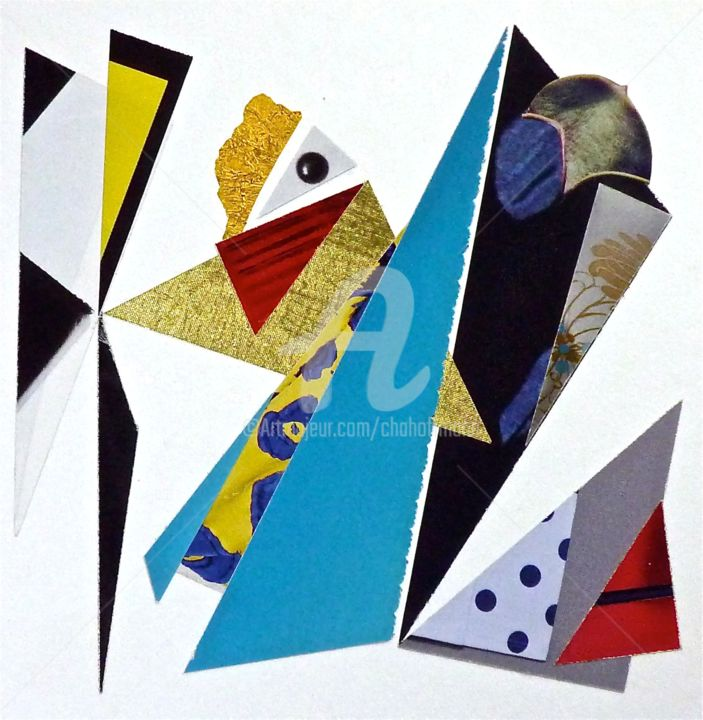 AURA 2015 - Collages,  5.1x5.1 in, ©2017 by Cha -                                                                                                                                                                                                                                                                                                                                                                                                                                                      Abstract, abstract-570, Architecture, Abstract Art, Colors, Women, Geometric, Créatures, Figures