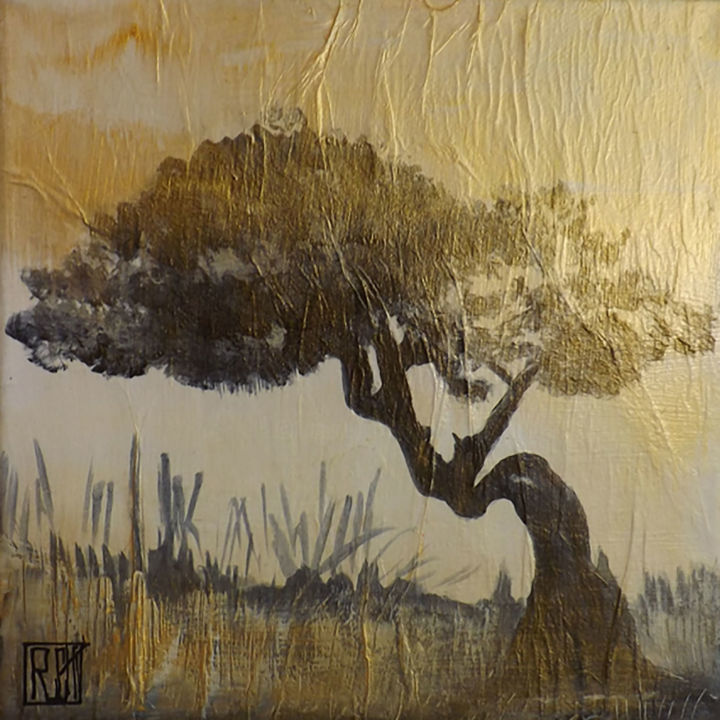 Entre nous - Painting,  20x20x5 cm ©2017 by LY-ROSE -                                                            Contemporary painting, Canvas, Tree, Arbre, Peinture, 2017
