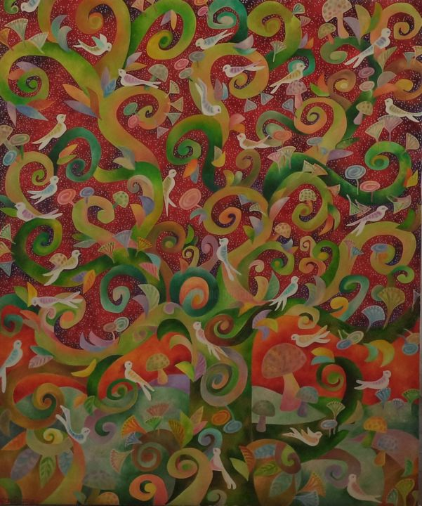 """Painting titled """"Life giving tree"""" by Chaitali Chatterjee, Original Art, Oil"""