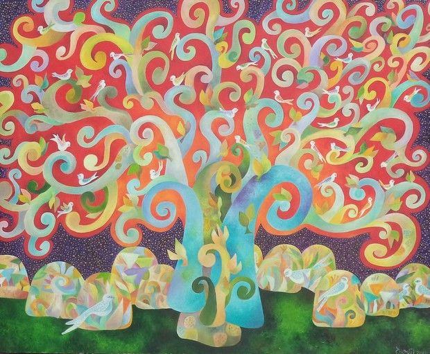 """Painting titled """"The wishing tree"""" by Chaitali Chatterjee, Original Art, Oil"""