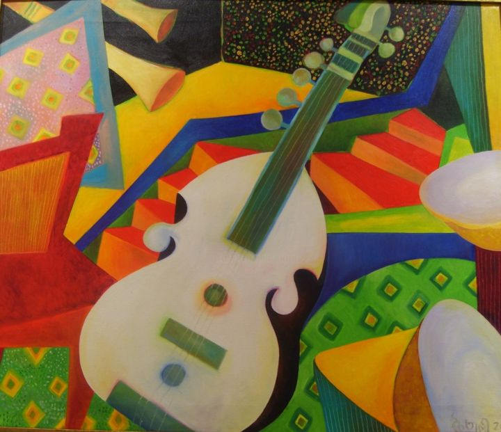 """Painting titled """"The musician"""" by Chaitali Chatterjee, Original Art, Oil"""