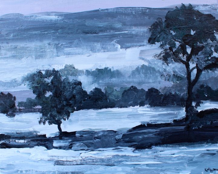 """Painting titled """"First Snow: Winter…"""" by Terence Kelly, Original Art, Acrylic"""