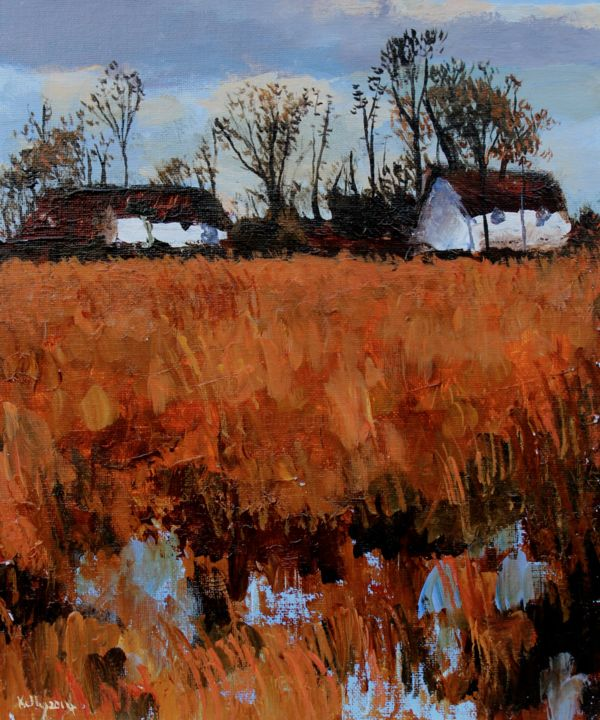 """Painting titled """"Cottages in Summer…"""" by Terence Kelly, Original Art, Acrylic"""