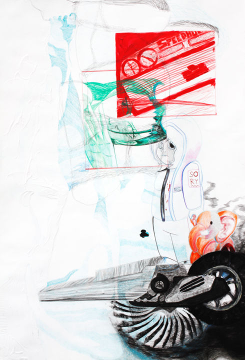 Racing Boy - Drawing,  115x80x0.1 cm ©2018 by Charlene Maiffret -                                                                                                                                                                                                                                                                                                Abstract Art, Figurative Art, Illustration, Contemporary painting, Pop Art, Folk, Paper, Abstract Art, Asia, Aerial, Comics, Body, Culture, Pop Culture / celebrity, Cartoon, Water, Women, Motorcycle, Music, Nude, Technology, Erotic, rap, hip hop, urbain, manga, moha la squale, adrénaline, one piece, moto, scooter, noyade, enfance, courage, matière, voiture, racing