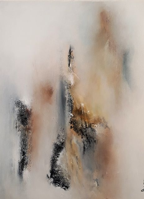 Voile de brume - Painting,  41x33x2 cm ©2018 by Chandi -                                        Abstract Art, Canvas