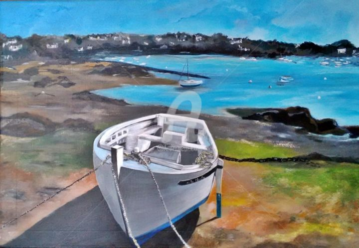 TREGASTEL - Painting,  50x70x2 cm ©2019 by Chantal LE MESLE -                                                                                    Environmental Art, Canvas, Boat, Landscape, Seascape, paysage marin, bateau