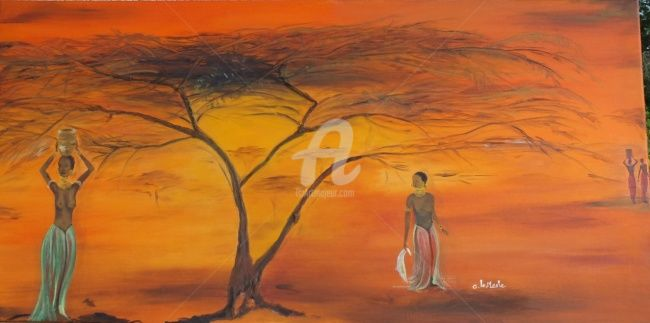 Africa - Painting,  100x50 cm ©2012 by Chantal LE MESLE -                                                            Realism, Canvas, Women, Sous le soleil Africain, Orange, Afrique