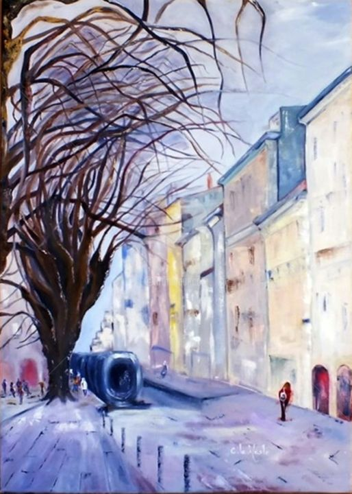 Rue de Bordeaux - Painting,  70x50x2 cm ©2014 by Chantal LE MESLE -                                                                        Abstract Art, Canvas, Performing Arts, Cities, Rue ; Bordeaux, ville, bleue, gris, tram, Chantal Le Mesle