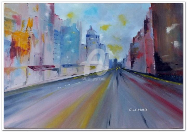Une Avenue - Painting ©2015 by Chantal LE MESLE -                                                            Abstract Art, Canvas, Cities, Rue, Avenue, ville