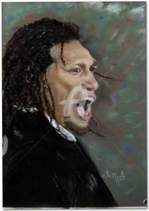 Ma'a Nonu - All Blacks - Drawing,  40x30 cm ©2015 by Chantal LE MESLE -                                                                        Figurative Art, Paper, Sports, Portraits, rugby, all blacks, Toulon, MA'A NONU, Chantal Le Mesle, Noirs
