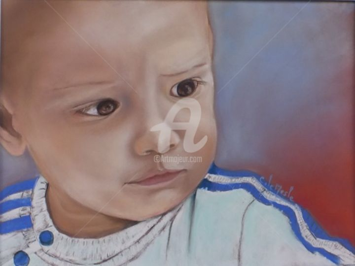 Bébé Zac - Drawing,  40x30 cm ©2015 by Chantal LE MESLE -                                                            Figurative Art, Paper, Portraits, Portraits, Enfants, Bébé