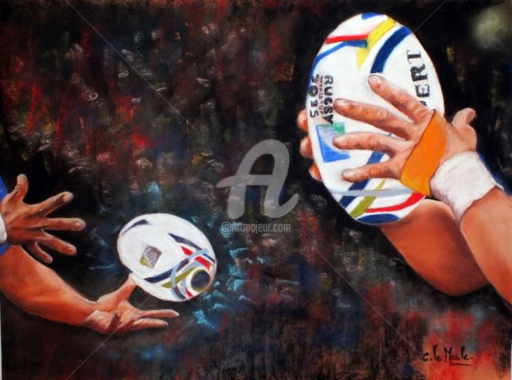 Passe - Painting,  40x50 cm ©2015 by Chantal LE MESLE -                                                                        Figurative Art, Realism, Paper, Sports, rugby, ballon, Chantal Le Mesle, geste, Pastel, coupe du monde 2015