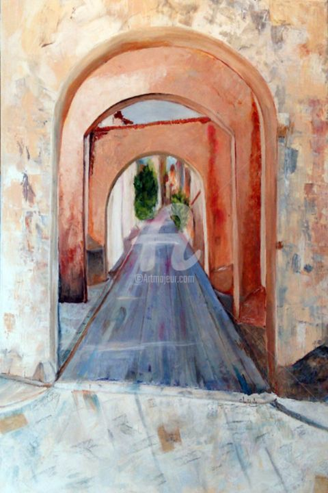 Entrez svp.... - Painting,  80x60x2 cm ©2017 by Chantal LE MESLE -                                                            Figurative Art, Canvas, Architecture, Acrylique, Chantal Le Mesle, Balades