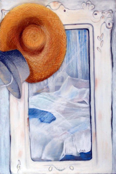 Miroir, mon beau miroir. - Painting,  70x50x0.05 cm ©2017 by Chantal LE MESLE -                                                            Figurative Art, Paper, Performing Arts, Chapeau de paille, Miroir, Cabane Bleue, Chantal Le Mesle