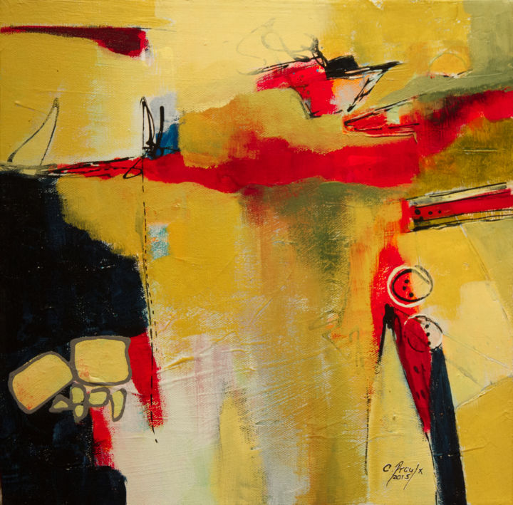 Andante - © 2015 Abstrait, Techniques mixtes, abstract, mixed media, canvas, toile, rouge, red, jaune, yellow, bleu, blue, expression, expressionnisme, acrylics, ink Online Artworks