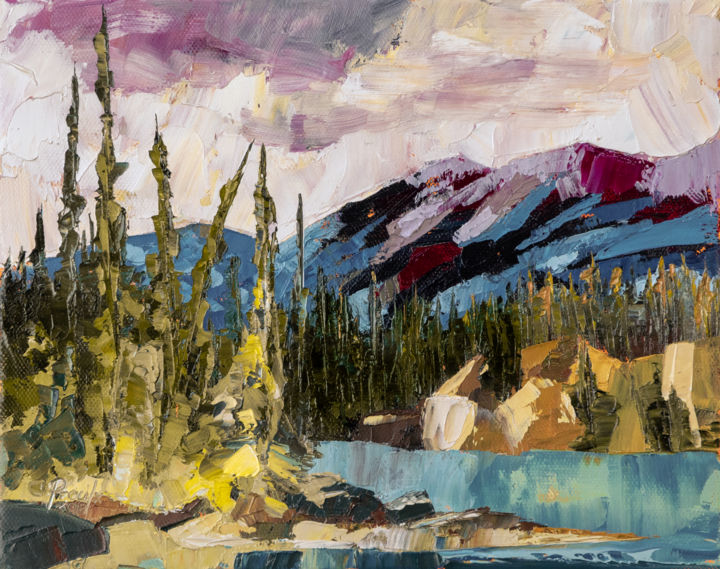 Rivière Athabasca - Painting,  7.9x10x0.6 in, ©2018 by Chantal Proulx -                                                                                                                                                                                                                                                                                                                                                                                                                                                                                                                                                                                                                                                                                                                                                                                                                                                                                                                                                                                                                                                  Abstract, abstract-570, Landscape, Mountainscape, Huile, Paysages, couteau, knife palette, oil, landscape, rockies, mountain, montagnes, rocheuses, rivière, river, lake, lac, calm, calme, arbres, trees