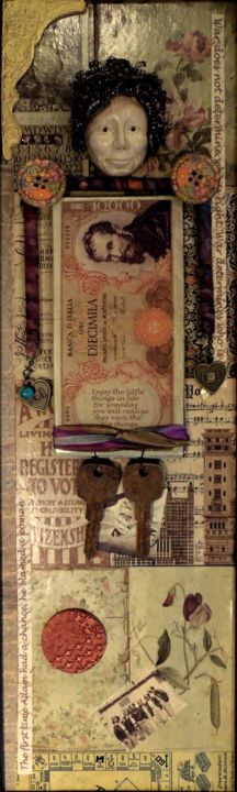 """Collages titled """"My Studio Muse"""" by Charlene, Original Art,"""