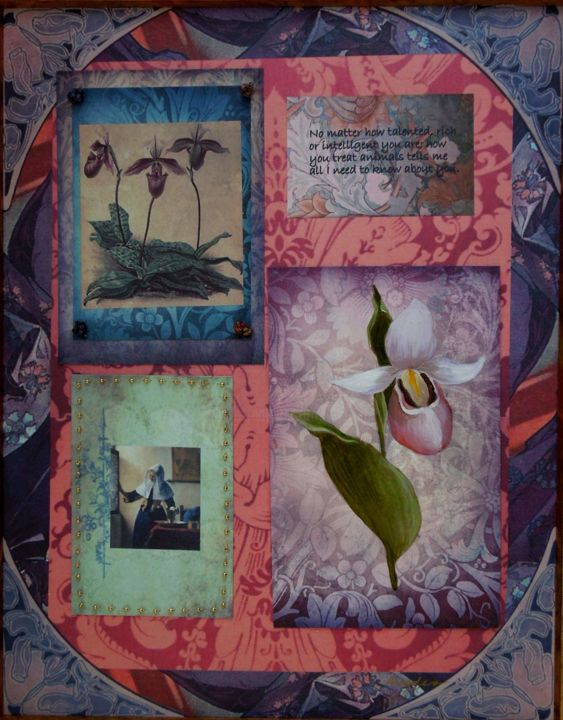 """Collages titled """"Vermeer Orchid"""" by Charlene, Original Art, Paper"""