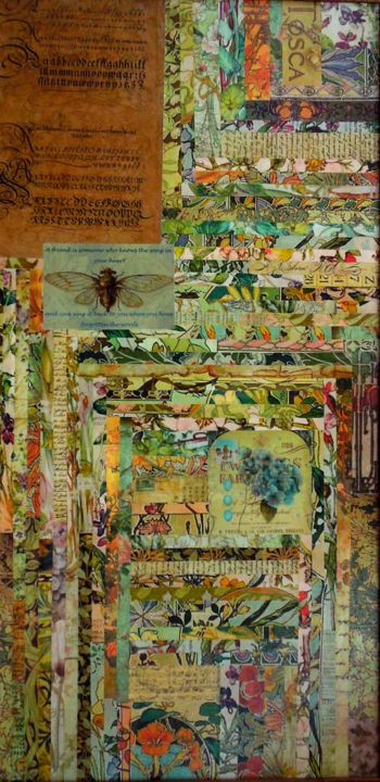 """Collages titled """"Mixed Media Salad"""" by Charlene, Original Art,"""